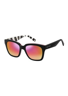 Marc Jacobs Mirrored Sunglasses w/ Zebra-Print Trim