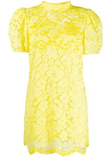 Marc Jacobs mock-neck floral-lace mini dress