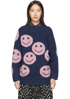 Marc Jacobs Navy 'The Redux' Crewneck Sweater