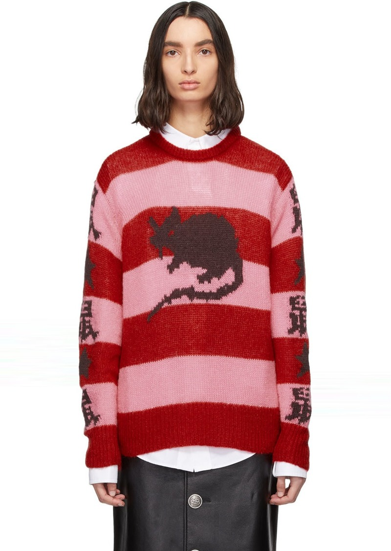 Marc Jacobs Pink & Red Stray Rats Edition Mohair Sweater