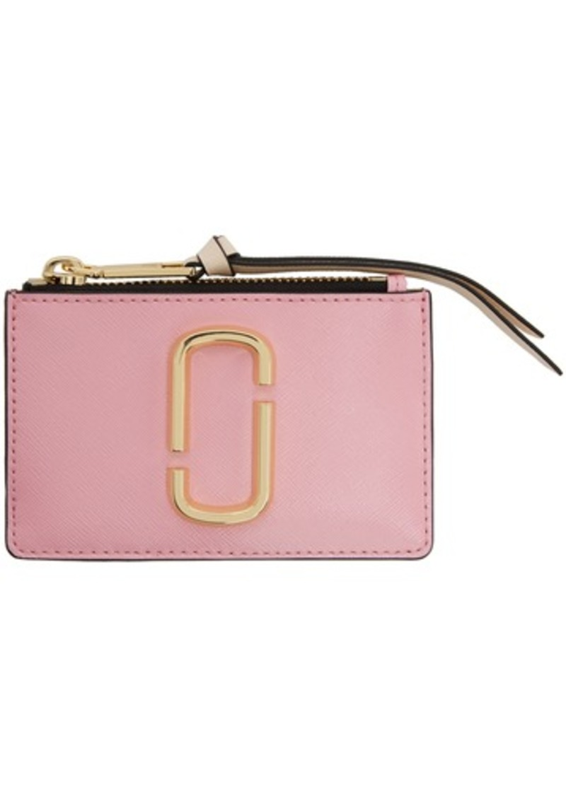 Marc Jacobs Pink & Red Top Zip Multi Card Holder