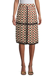 Marc Jacobs Pixel Check Pleated Silk Skirt