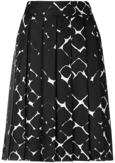 Marc Jacobs pleated abstract diamond silk skirt