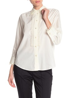 Marc Jacobs Pleated Chiffon Trim Button Front Shirt