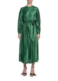Marc Jacobs Pleated Lame Self-Tie Midi Dress
