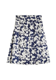 Marc Jacobs Pleated Print Silk Skirt