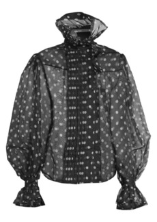 Marc Jacobs Runway Polka Dot Silk Organza Ruffle Collar Blouse
