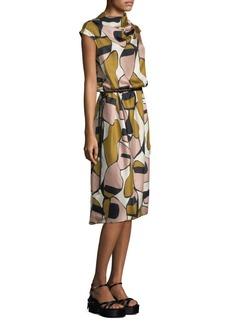 Marc Jacobs Printed Silk Drape-Neck Dress