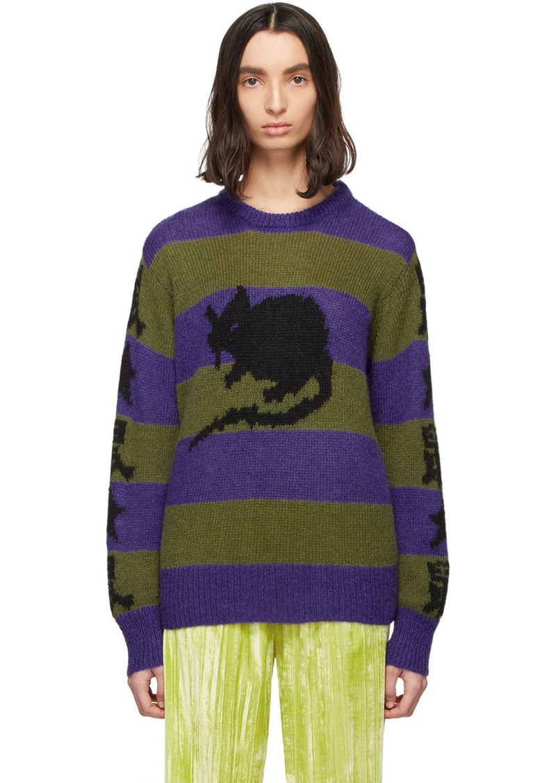 Marc Jacobs Purple & Green Stray Rats Edition Mohair Sweater