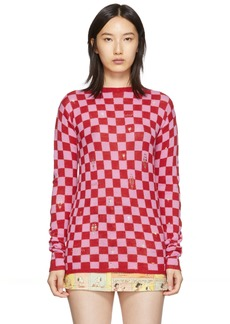 Marc Jacobs Red & Pink 'The Checkered' Crewneck Sweater