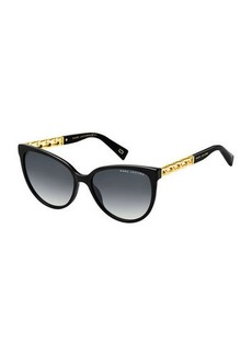 Marc Jacobs Round Gradient Sunglasses w/ Curb Chain Arms