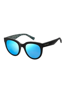 Marc Jacobs Round Gradient Sunglasses w/ Glittered Interior