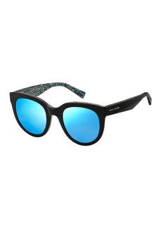 Marc Jacobs Round Gradient Sunglasses w/ Glittered Interior