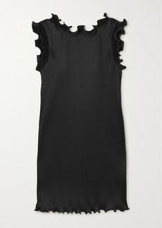 Marc Jacobs Ruffled Plissé Stretch-satin Mini Dress
