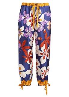 Marc Jacobs Runway Floral Silk Drawstring Pants