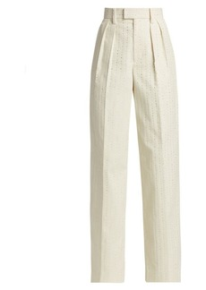 Marc Jacobs Runway Pleat-Front Embellished Cotton Trousers