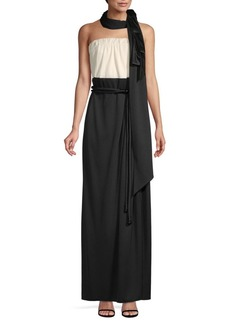 Marc Jacobs Scarf-Accented Strapless Evening Gown
