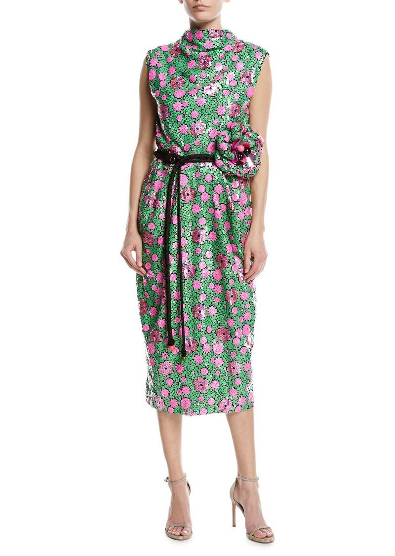 Marc Jacobs Sequined Floral Tie-Waist Cocktail Dress