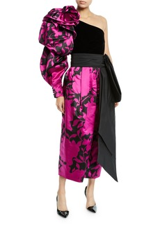 Marc Jacobs Shadow Flower Satin One-Shoulder Velvet-Bodice Gown