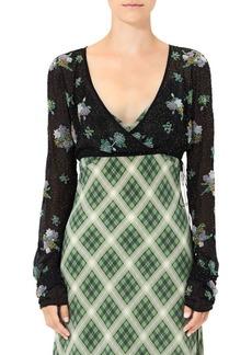 Marc Jacobs Silk Chiffon Floral Crop Blouse