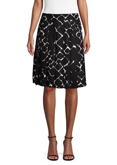 Marc Jacobs Silk Pebble Print Pleated A-line Skirt