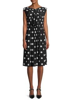 Marc Jacobs Sleeveless Medium Dot-Print Silk Dress w/ Bow