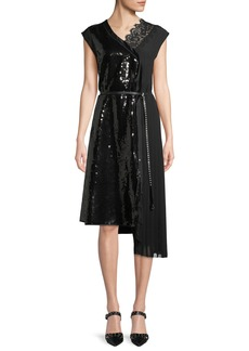 Marc Jacobs Sleeveless Sequined A-Line Cocktail Dress w/ Lace