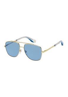 Marc Jacobs Square Metal Aviator Sunglasses