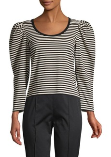 Marc Jacobs Striped Puffed-Sleeve Cotton Top
