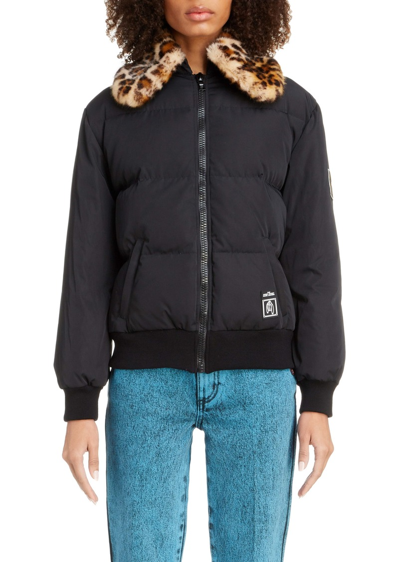 THE MARC JACOBS The Down Jacket with Leopard Print Faux Fur Collar