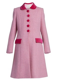Marc Jacobs The Sunday Best Velvet-Trim Wool Coat