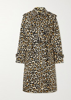 Marc Jacobs The Trench Belted Double-breasted Leopard-print Denim Coat