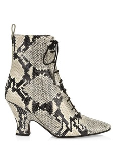 Marc Jacobs The Victoria Snakeskin-Embossed Leather Ankle Boots