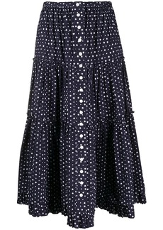Marc Jacobs tiered dotted midi skirt