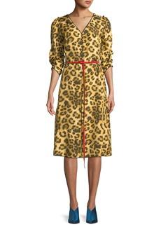 Marc Jacobs V-Neck 3/4-Sleeves Belted Leopard-Print Dress w/ Contrast Back