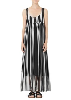 Marc Jacobs Redux Grunge Wide Stripe Chiffon Maxi Dress