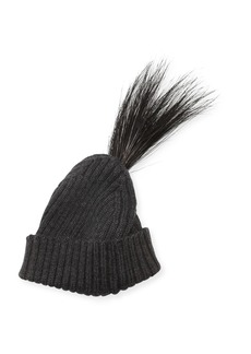Marc Jacobs Wool Feather-Trim Beanie