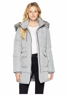Marc New York Astoria Down Filled Anorak with Faux Fur Trim Hood Patch Pockets