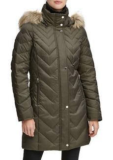 Marc New York Chevron Down-Fill Faux-Fur Hooded Coat