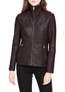 Marc New York Classic Quilted-Shoulder Leather Moto Jacket