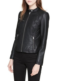 Marc New York Classic Stand-Collar Leather Moto Jacket