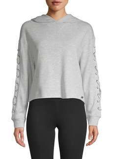 Marc New York Cropped Lace-Up Hoodie
