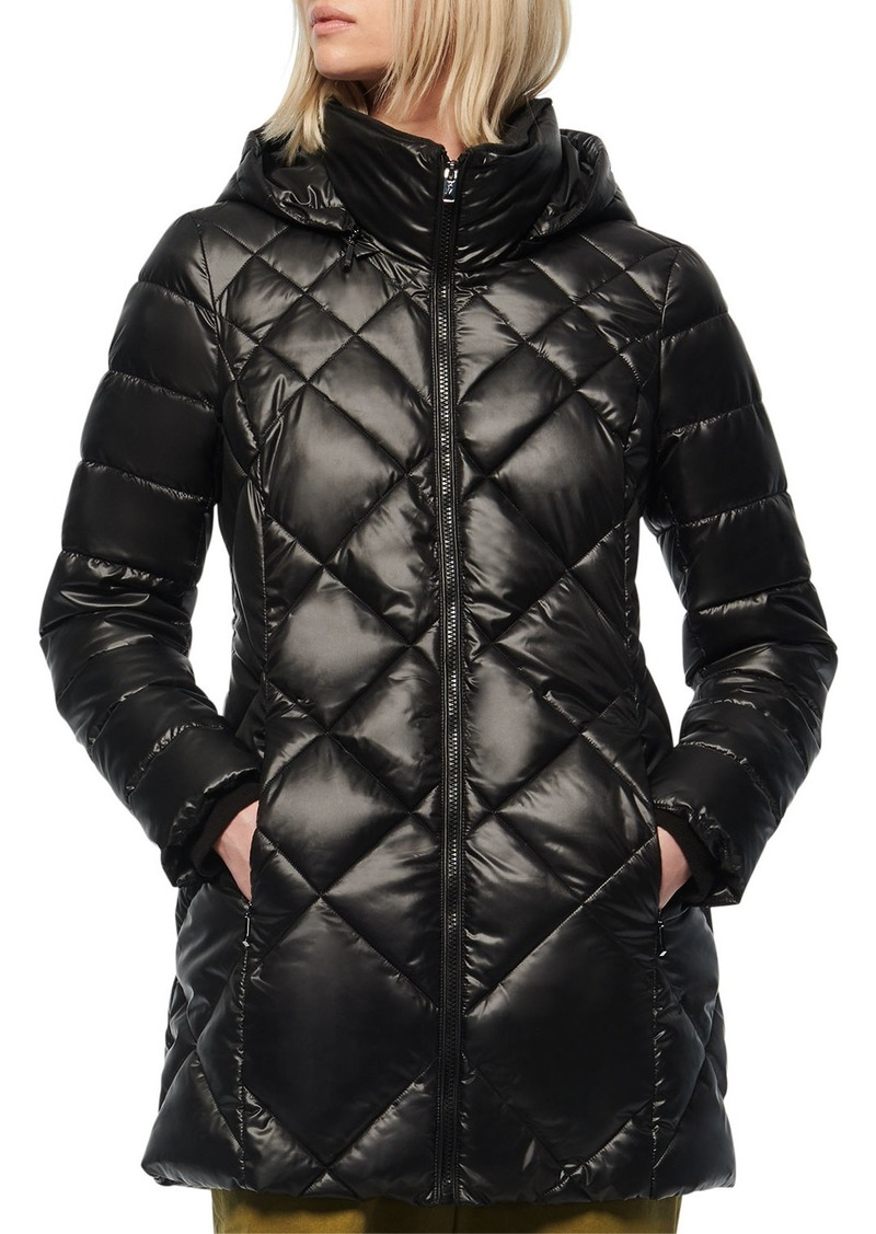 Marc New York Diamond Quilted Lacquer Puffer Coat