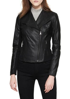Marc New York Felix Best Seller Asymmetric-Zip Leather Moto Jacket