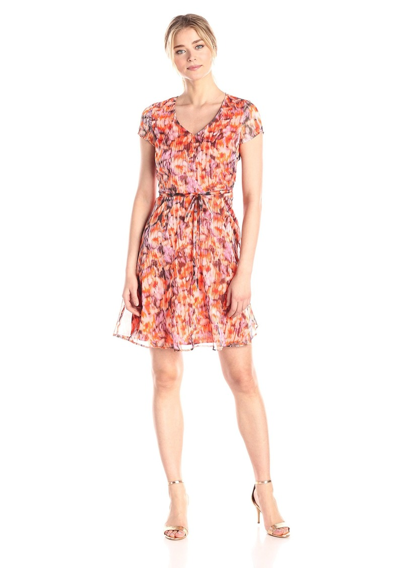 Marc New York by Andrew Marc Women's Blurred Floral Fit and Flare Dress