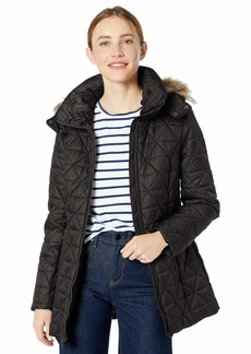 Marc New York by Andrew Marc Women's Chevron Quilted Down Jacket with Removable Faux Fur Hood