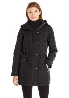 Marc New York by Andrew Marc Women's Chrissy Lightweight Coat with Drawstring Hood  L