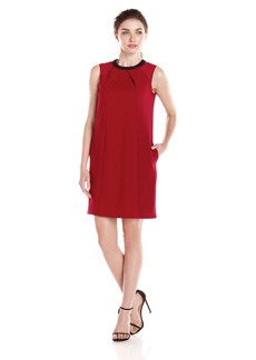 Marc New York by Andrew Marc Women's Embellished-Neck Shift Dress