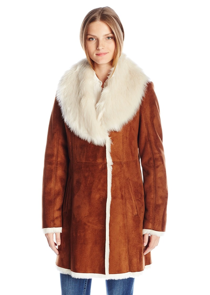 Marc New York by Andrew Marc Women's Sarah 3/4 Length Coat with Faux Fur Collar  L