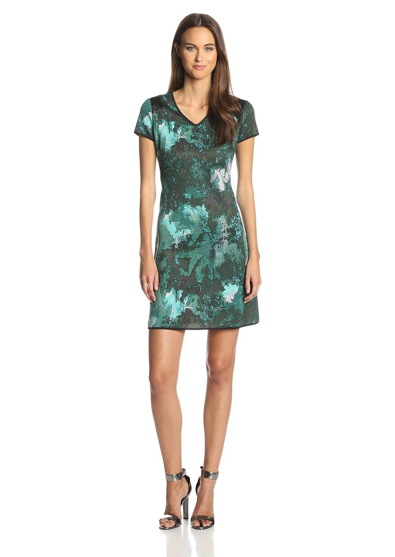 Marc New York by Andrew Marc Women's Short-Sleeve V-Neck Printed Dress